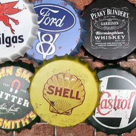 Large Metal Bottle Top Signs