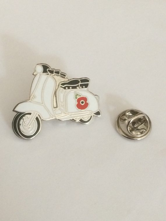 Poppy On Scooter Design Enamel Badge – IN AID OF THE TROOP AID CHARITY