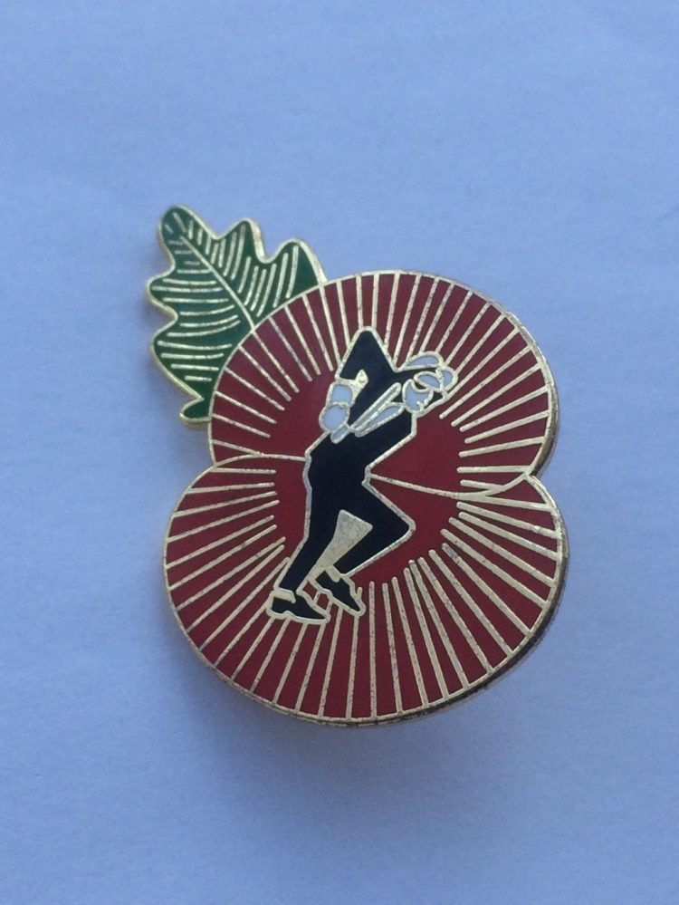 Poppy & SKA Dancing Man Design Enamel Badge - IN AID OF THE TROOP AID CHARITY
