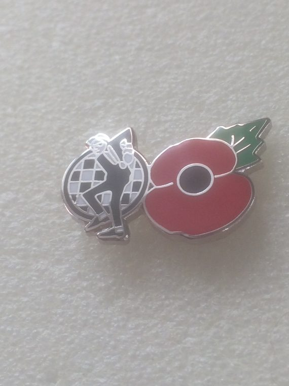 Ska Man With Poppy Enamel Badge